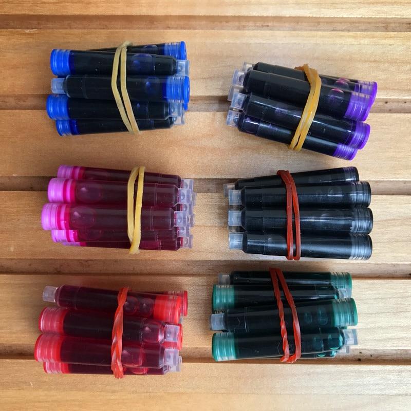 Precio al por mayor 60 uds pluma estilográfica desechable azul y negro recargas de cartuchos de tinta longitud pluma estilográfica recargas de cartuchos de tinta