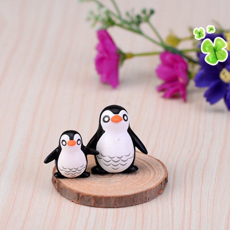 ZOCDOU 2 Stück Antarktis Pinguin Kalten Fett Vogel Pajaro Familie Modell Kleine Statue Figurine Handwerk Ornament Miniaturen DIY Decor