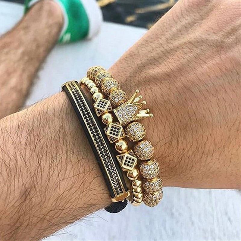 Mcllroy moda pulseras de lujo para hombres corona masculina cúbica Micro pavé CZ pulsera de trenzado de oro brazalete de ajuste de joyería de hombre
