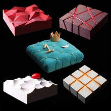 1pc bricolage irrégularité géométrie grand Silicone gâteau moule 3D Pan Silicone moules carré pour gâteau cuisson moules décoration outils