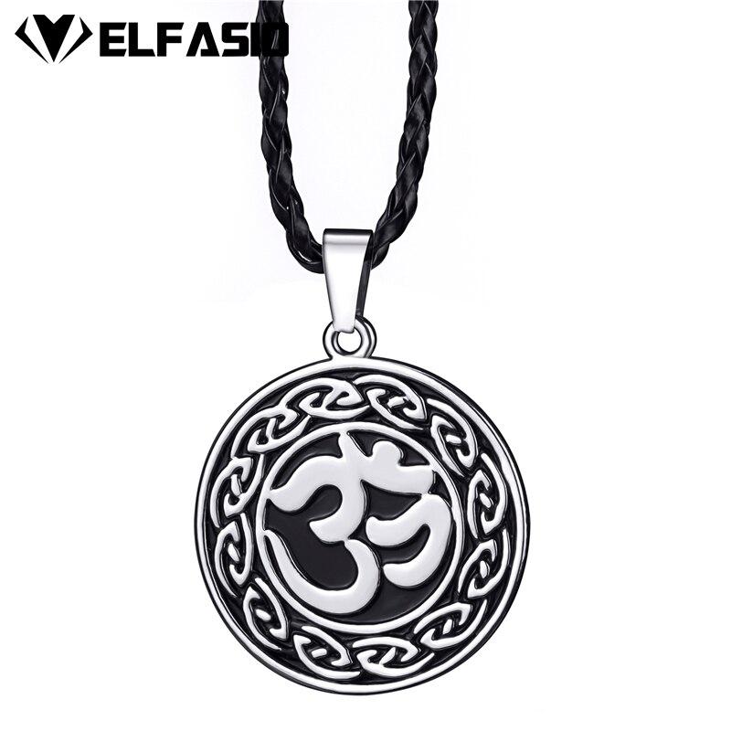 "Masculino meninos celtic aum om hindu símbolo religioso pewter pingente com 24 ""colar lp260"