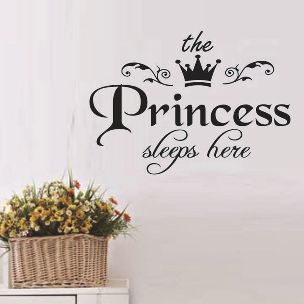 Il Principe E la Principessa Dorme Qui Wall Stickers DIY Stelle Carino Corona Scuola Materna Decorazione Della Stanza Dei Capretti Delle Ragazze Dei Ragazzi