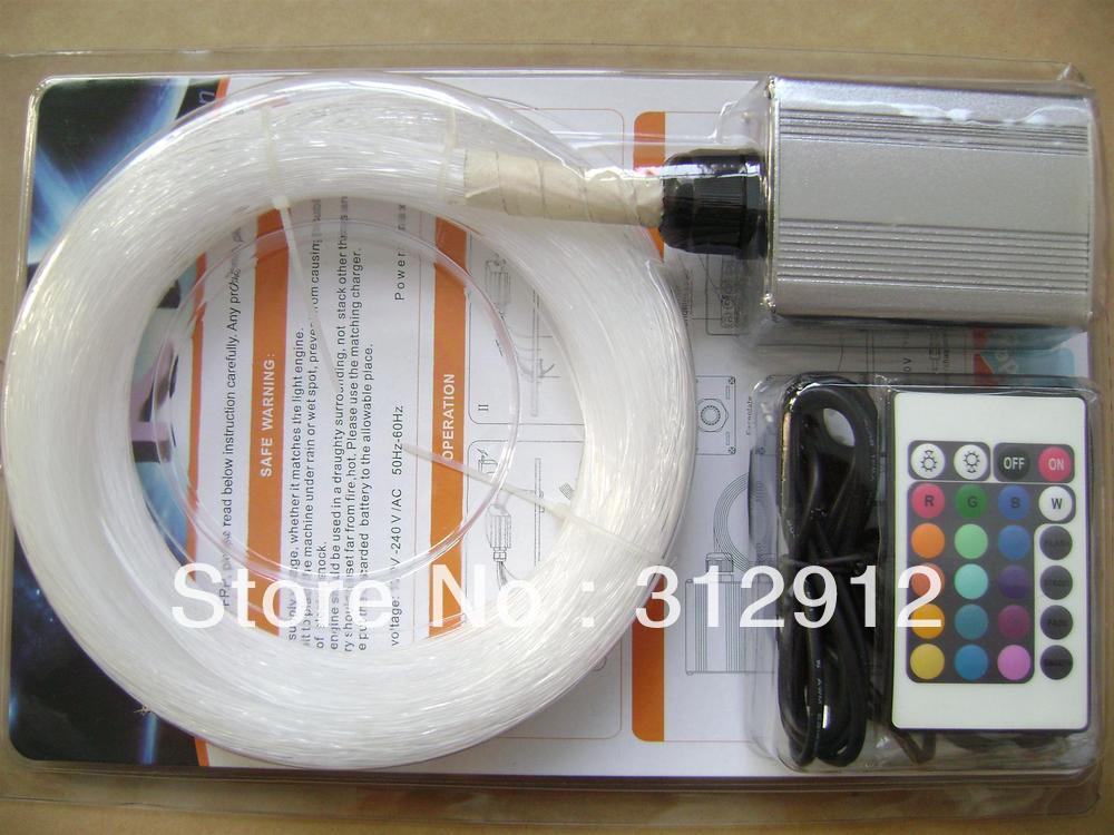 200 piezas 0,75mm * 2 m PMMA kit de fibra óptica con motor de luz RGB de 6 W, IR 24key remoto; modelo FRP-03