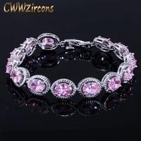 cwwzircons brand new trendy design 0 8ct round cut pink cubic zirconia wedding bracelet for women party gift jewelry cb178