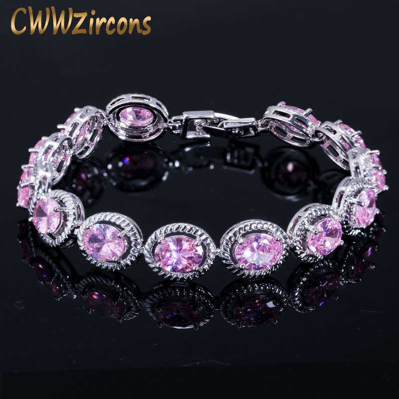 CWWZircons Brand New Trendy Design 0.8ct Round Cut Pink Cubic Zirconia Wedding Bracelet for Women Party Gift Jewelry CB178