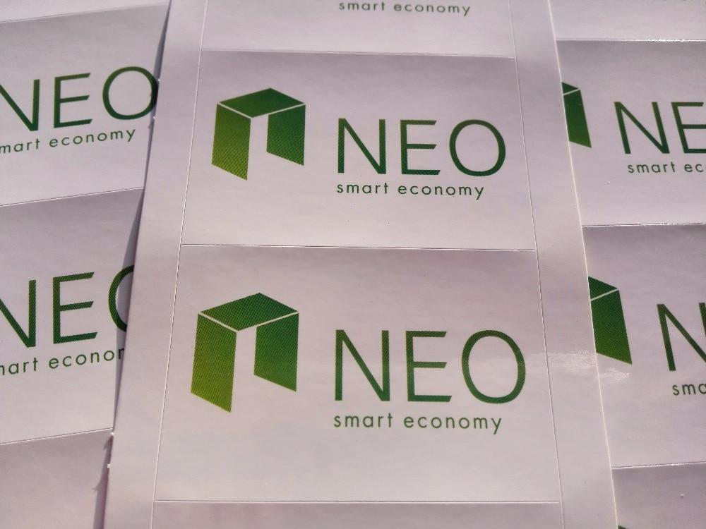 150 unids/lote 6x4cm NEO smart economy, etiqueta autoadhesiva de criptomoneda, artículo no. FS15