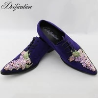 deification luxury fashion cow suede men casual shoes loafers italian design males flats pointed toe embroidery men dress shoes