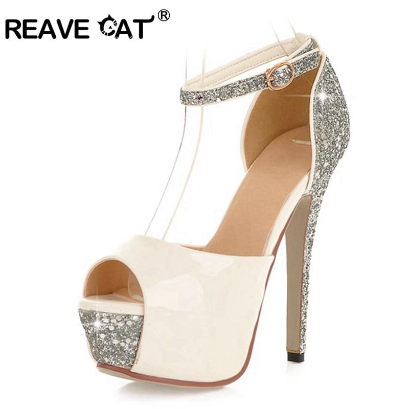 REAVE CAT-حذاء زفاف نسائي بكعب عالٍ ، حذاء بكعب رفيع 13 سنتيمتر بإبزيم منصة ، لون فضي ، مقاس 34-43