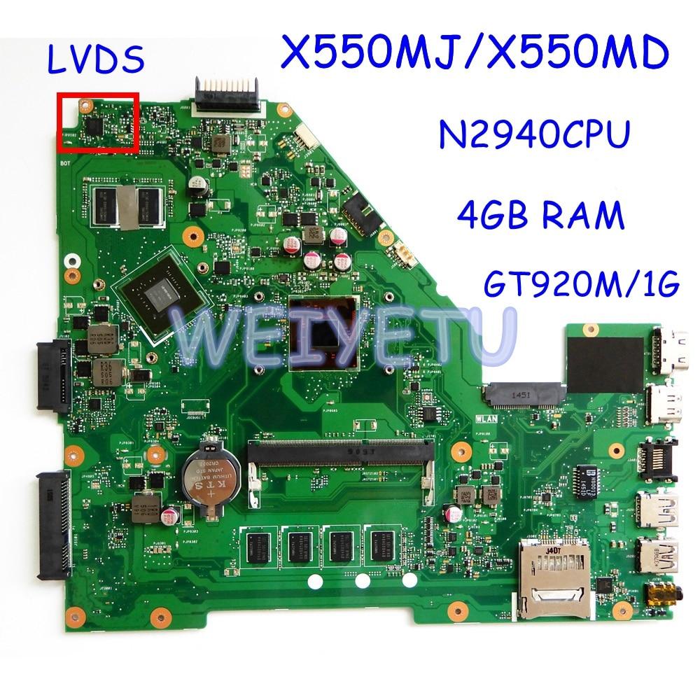 X550MJ N2940 4GB RAM اللوحة ل ASUS X550M X552M Y582M X550MD Laptop Mainboard REV2.0 اختبار