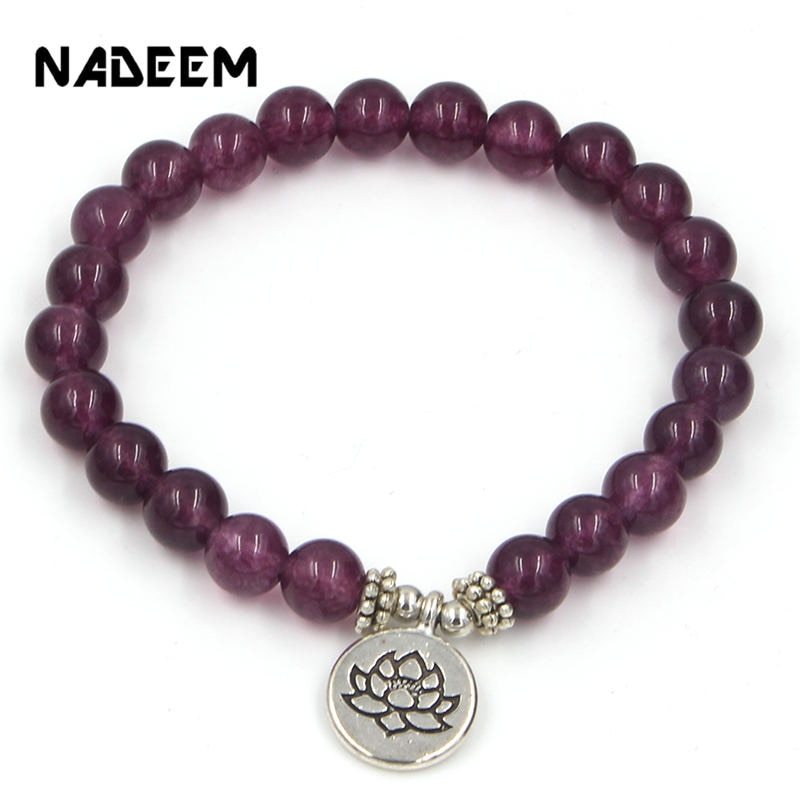 Handmade Bohemian Natural Purple Stone Beads Lotus,Life Tree,Buddha Bracelets Bangles For Women Men