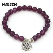 Handmade Bohemian Natural Purple Stone Beads Lotus,Life Tree,Buddha Bracelets Bangles For Women Men