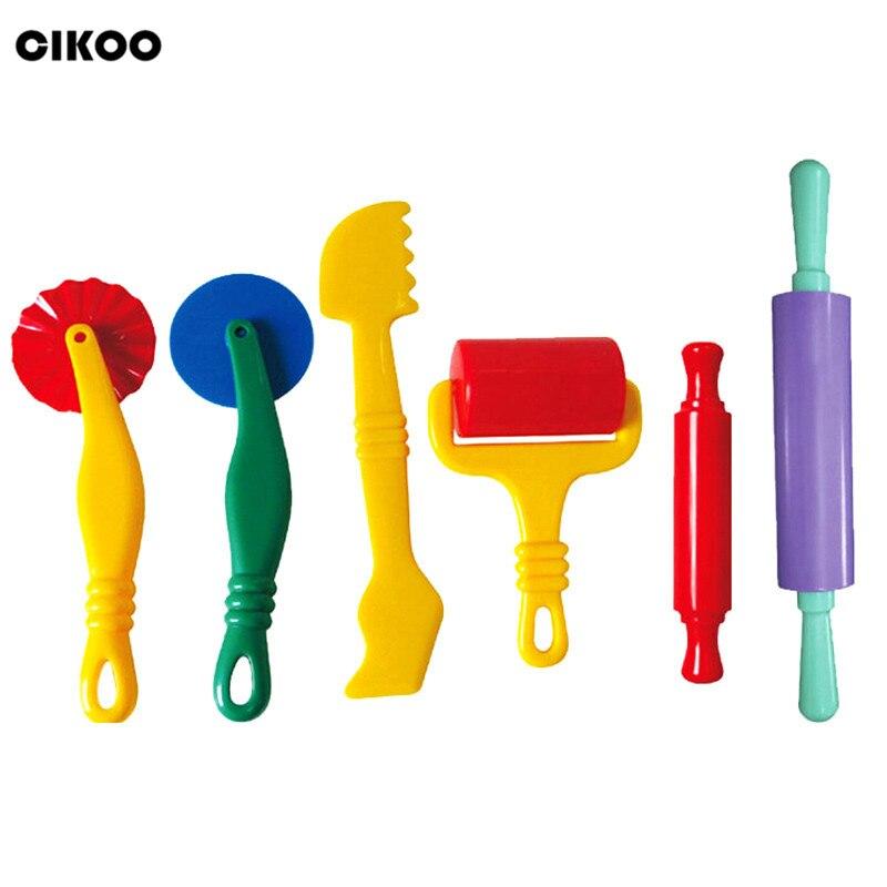 6 pcs Cor Plasticina Playdough Massinha Ferramenta Modelo Brinquedos Criativos 3D Set, Moldes De Argila Conjunto de Luxo, aprendizado & Educação Brinquedos