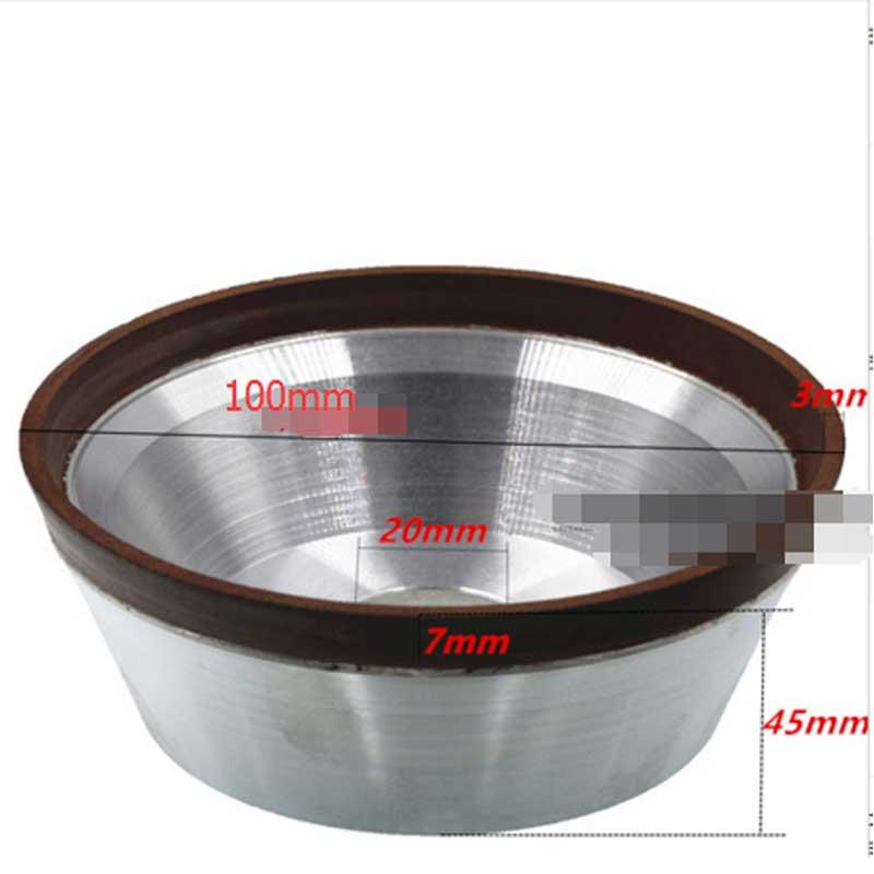 Diâmetro de 100 Furos 20mm tigela forma de diamante de Queima diamond cup rebolo roda abrasiva de carboneto de tungstênio liga dura e024