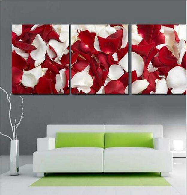 3 Piece/Sets rojo blanco pétalo de rosa moderno imagen artística para pared colgante impreso regalo lienzo pintura al óleo de la lona de pinturas