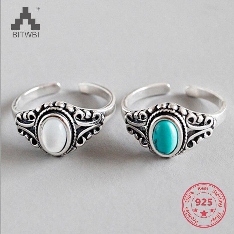 Encantos do vintage jóias branco concha verde turquesa 925 prata esterlina ajustável anel aberto