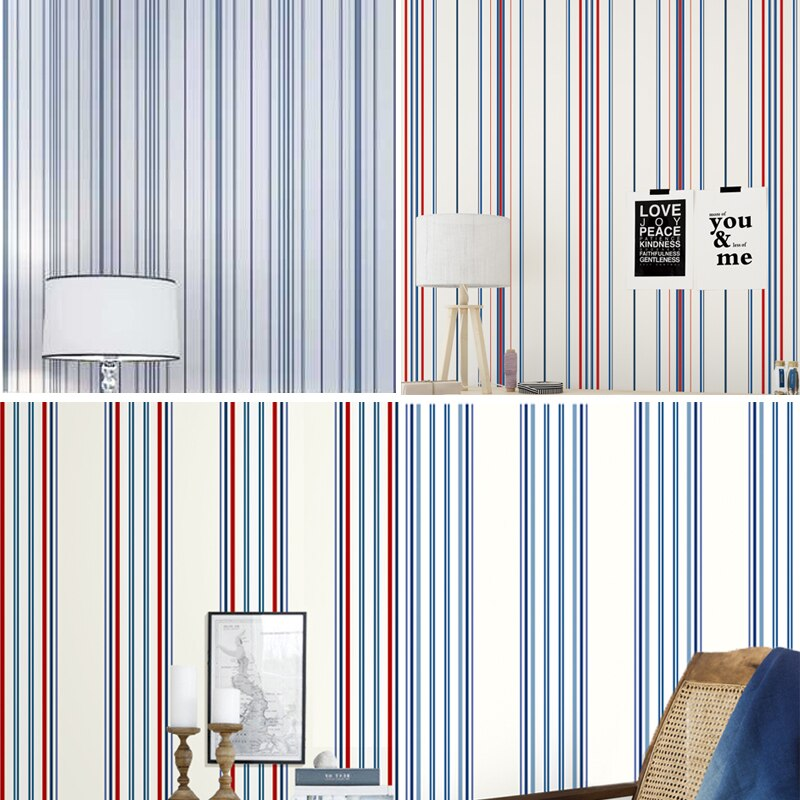 Modern Minimalist Black White Vertical Stripes Wallpapers Mediterranean Blue Wallpaper Yellow Green Red Pink Girl Kids Bedroom Buy At The Price Of 32 79 In Aliexpress Com Imall Com