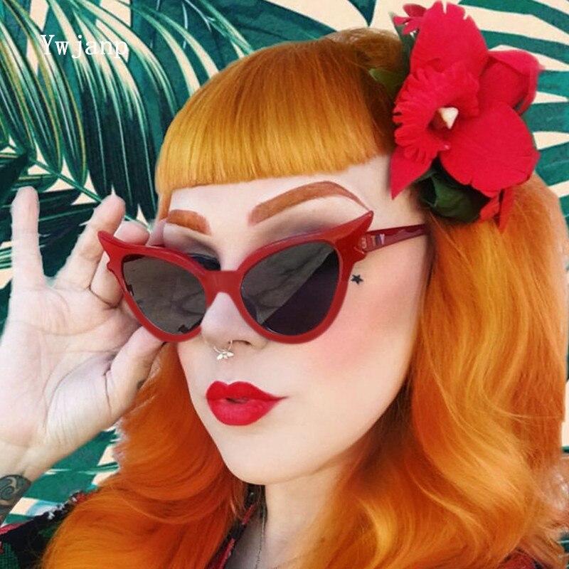 Ywjanp 2019 New Cat's eye Sunglasses Women Brand designer Trend street shooting Sun Glasses Men glas