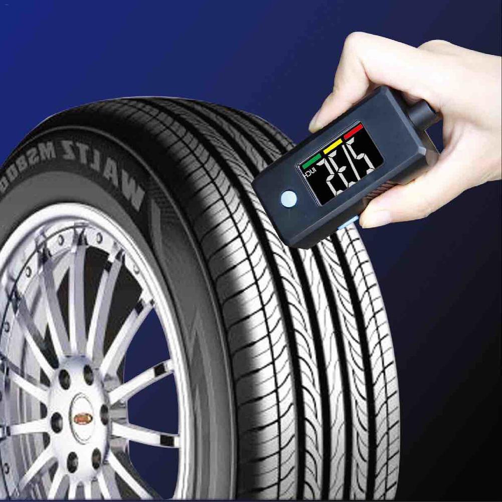 Popular 2 en 1 Mini indicador Digital electrónico de neumáticos llavero de alta precisión de banda de rodadura medidor de presión de neumáticos
