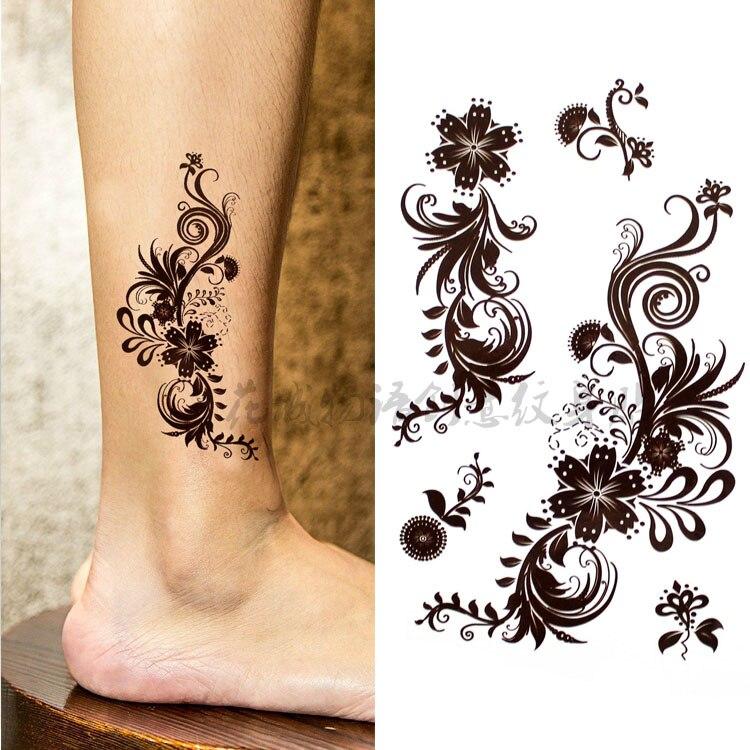Красивые коричневые татуировки хны с большим цветком, водонепроницаемые поддельные татуировки для женщин, наклейки для вихревых татуировок 10*20 см, KD666-2