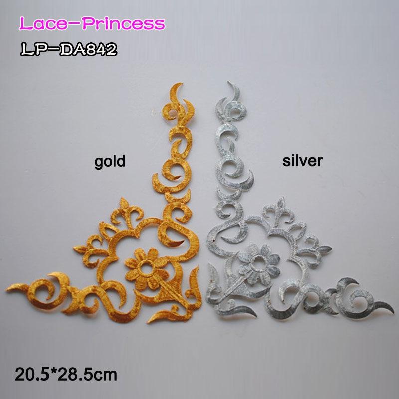 2 pares 20.5X28.5 CM ouro prata poliéster fita bordar DIY lace patches flores de Renda Applique Vestuário acessórios LP-DA842