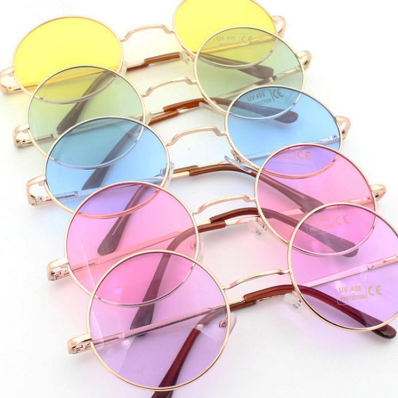 Retro hippie Metal Lennon round sunglasses women frame circle tinted lens Super chic style