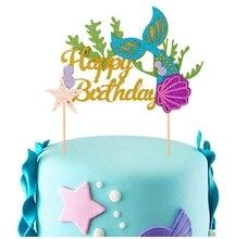 1 juego DIY brillo pastel Topper sirena cola Concha estrella tema chica cumpleaños pastel decoración bebé ducha suministros