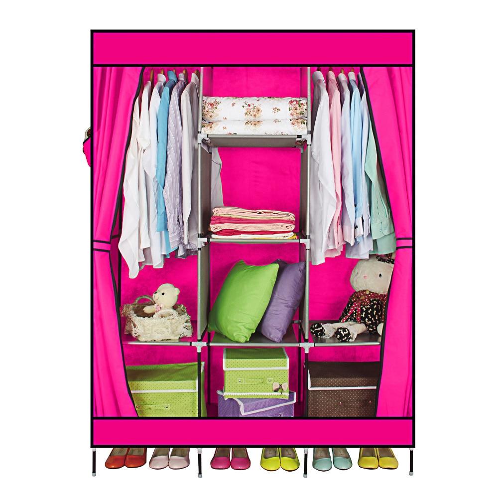 Armario de armario rojo con 2 puertas de tirón, armarios simples, refuerzo Simple y plegable, recepción de ropa y contenido de la tienda Ark
