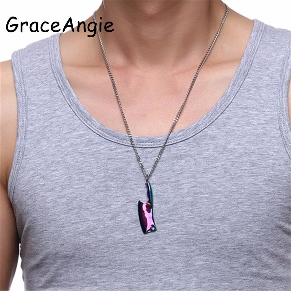 Мужские ожерелья с кулоном GraceAngie, кухонный нож из нержавеющей стали, ожерелье с подвеской 60 см, мужские ювелирные изделия в стиле хип-хоп