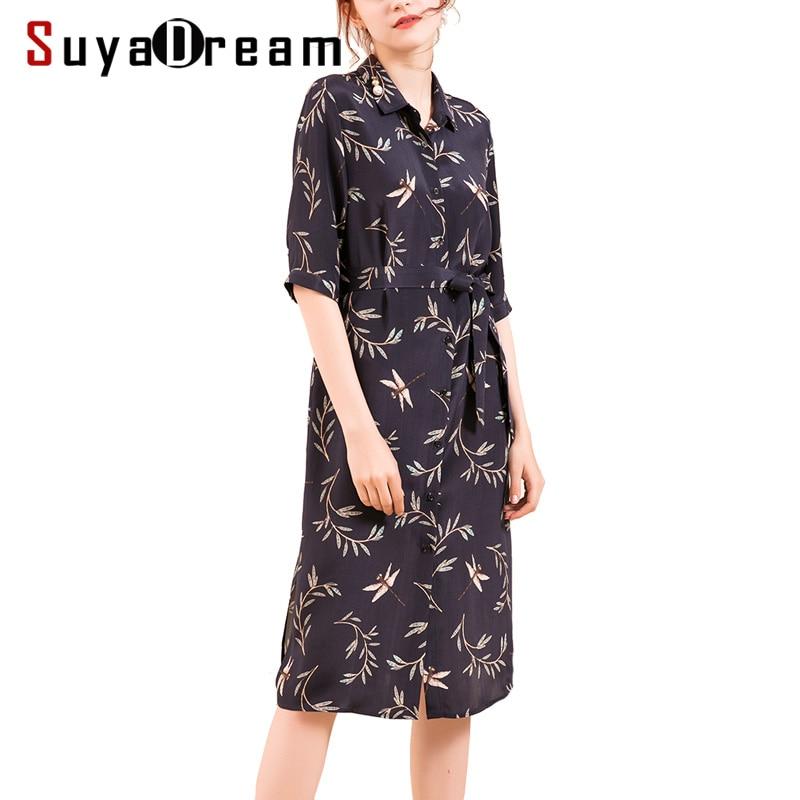 SuyaDream النساء قميص اللباس 23 مللي متر 100% ريال الحرير المطبوعة الركبة طول نصف أكمام الزنانير فساتين للنساء 2020 خريف شتاء جديد