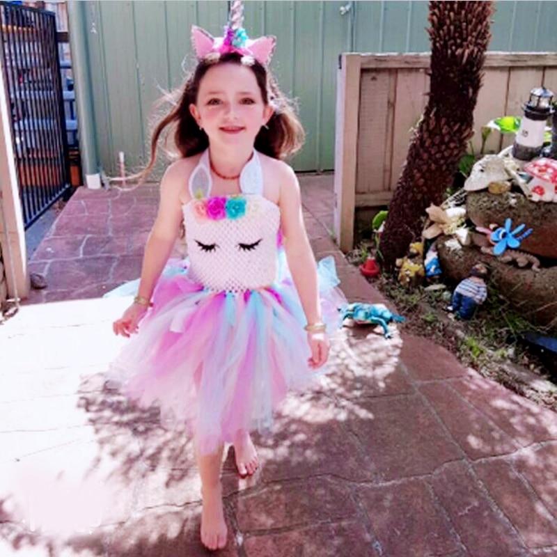 2019 Flower Girls Unicorn Tutu Dress Pastel Rainbow Princess Girls Birthday Party Dress Children Kids Halloween Unicorn Costume недорого