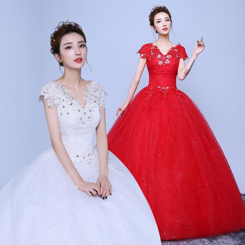 2017 new stock plus size women pregnant bridal gown wedding dress ball gown white red matte satin long bling dimaond cheap 040