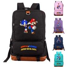 Adolescent Cartoon Sonic Super Mario Bros sac à dos décontracté garçons filles enfants cartables enfants bambin sac à dos Infantil Mochila