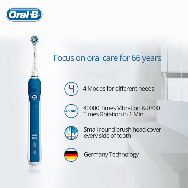 Oral B Ultrasonic Electric Toothbrush Pro4000 3D Smart Tooth Whitening Rechargeable Adult Teeth Brush Waterproof Stain Removal enlarge