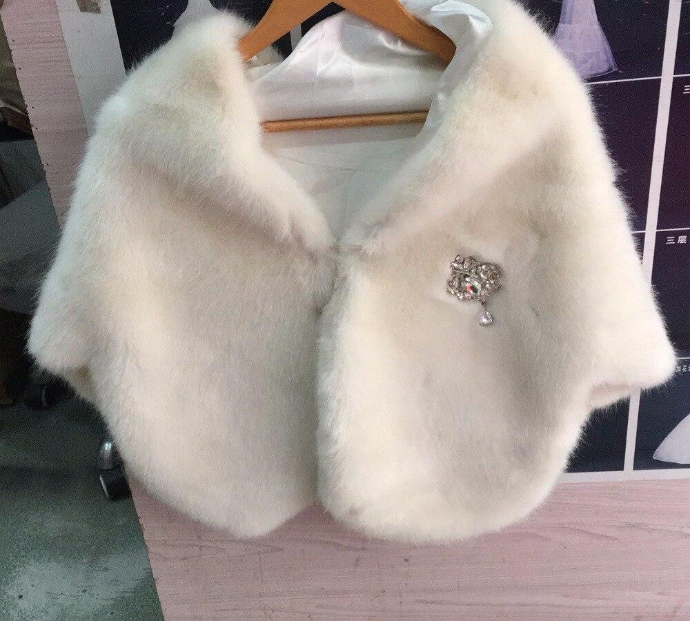 CloverBridal, gran calidad, marfil, cálido, invierno, abrigo de piel para boda, chaqueta de novia, boda, Bolero diario, boda