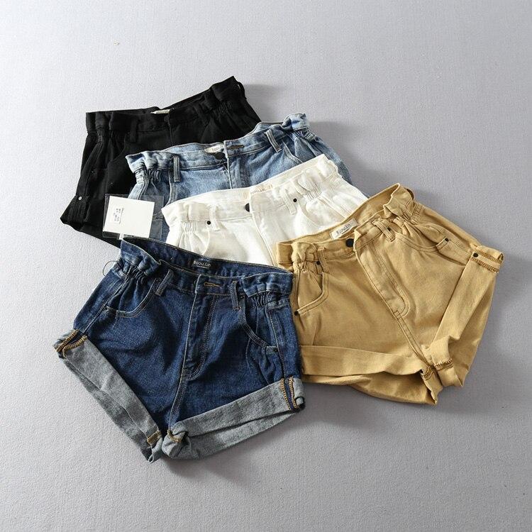 NOVEDAD DE VERANO 2019, pantalones cortos de tela vaquera azules para mujer, pantalones cortos de pierna ancha a la moda, pantalones cortos informales de cintura alta para mujer