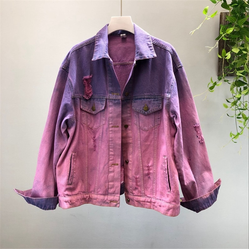 2019 Autumn New Women Basic Coats Vintage Bomber Jacket Long Sleeve Casual Female Holes Jeans Coat Casacos Feminino Outwear M171