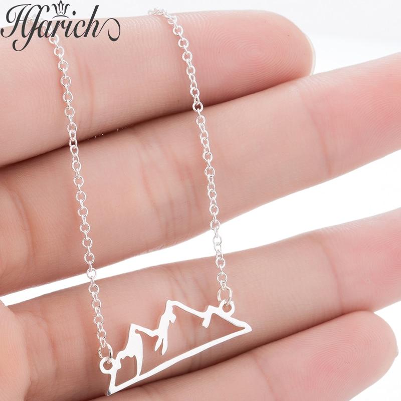 Hfarich Mini gargantilla de montaña encantadora para mujer chica montaña amor colina collar de cadena larga de acero inoxidable Lovers regalos de fiesta