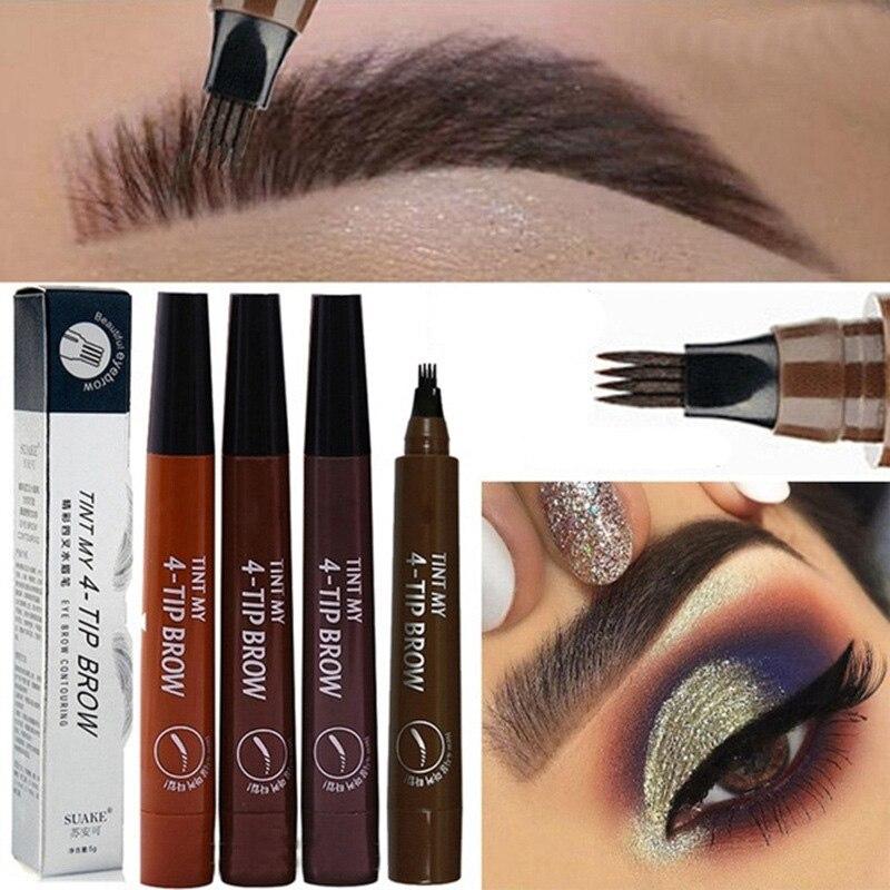 Lápiz de cejas Dropshipping, maquillaje de ojos a prueba de agua, 4 tenedor, herramienta de belleza portátil para mujer, señora SMJ