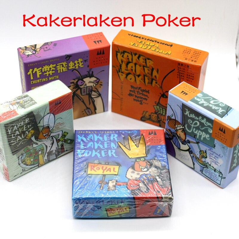 Juego de cartas divertido de 5 opciones Kakerlaken Salat/Poker/Royal/Suppe/Mogel Motte juegos de mesa familiares partido cucaracha juego interior