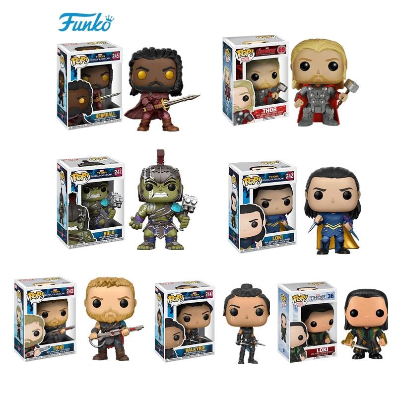 FUNKO POP Thor: Ragnarok #240 THOR with Short Hair LOKI HULK VALKYRIE Movie Figure Model Collection Toys Birthday Gift Present