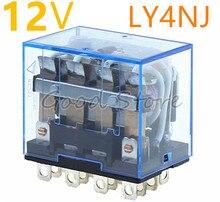 1 pièces LY4NJ DC 12V AC Relais HH64P LY4N-J Relais Miniature 4PDT 4NO 4NC 14 Broches 10A