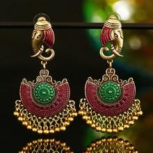 Indien Tribal laiton boucle doreille longue goutte boucle doreille fleur orné or gitane boucle doreille pour les femmes Boho Vintage femmes boucle doreille bijoux