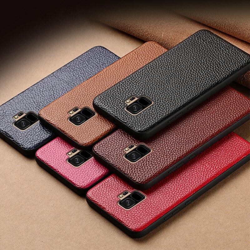 De cuero genuino de teléfono funda para Samsung S10 S8 S9 Plus Nota 10 9 caso Litchi textura cubierta trasera para A70 A7 A8 J5 J7 2017 casos