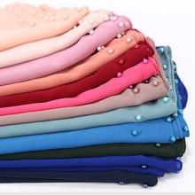 1 pc belle couleur perle écharpe grand soldat couleur qualité bulle mousseline écharpe plaine châles hijab musulman écharpe 20 couleur 180*75 cm