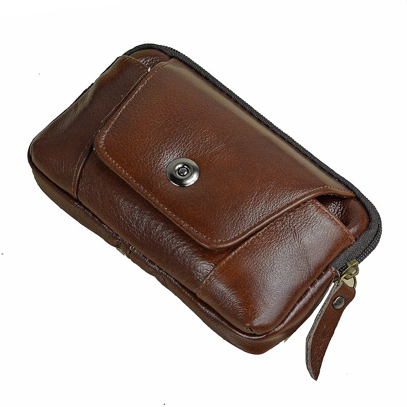 high quality genuine leather men hip bum belt purse fanny pack pouch mini cell mobile phone pocket cigarette case hook waist bag Men Genuine Leather Hip Bum Belt Bag Male Zipper Leather Phone Pouch Bag High Quality Waist Boy Fanny Packs