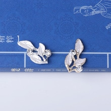 50PC 12*22mm Gold Tone Alloy Material Crystal Leaf Charm Enamel leaf Pendant for Wedding Head DIY Handmade Jewelry Making