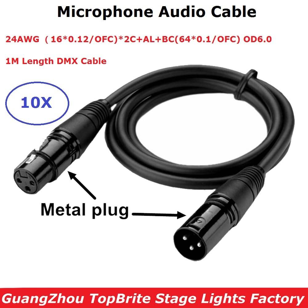 3Pin XLR Microphone Audio Cable 1M Length Audio Cable 3PIN Signal Connection Shielded XLR Male to Female For Moving head Light tiptop tp d16 artnet dmx 4 four way artnet dmx bi directional converter 4 female 3pin xlr in out signal converte ethernet cable