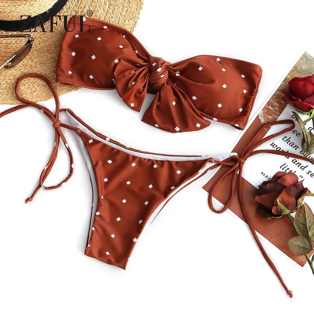 Женский купальник-бандо ZAFUL, бикини в горошек, с низкой талией, с принтом, без бретелек, с подкладкой, пляжная одежда