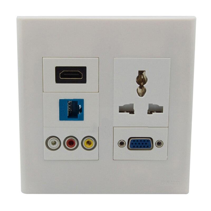 Smart Home 120X120mm Panel electrónico de enchufe de pared HDMI VGA CAT6 RJ45 3RCA AV AC adaptador de enchufe de Panel de pared