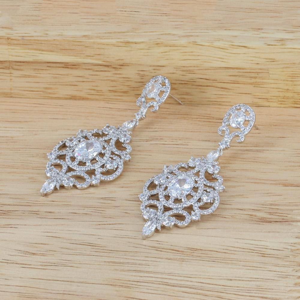 Popular Full CZ Cubic Zirconia Drop Dangle Bridal Wedding Earring for Women Jewelry CE10305